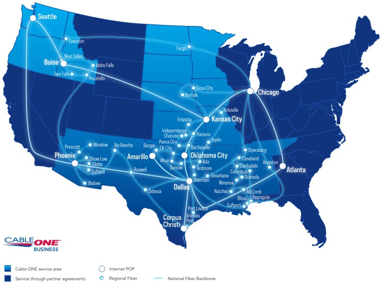 Fiber Internet For Carriers Wholesalers Cable ONE Business - Us fiber map