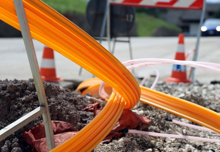 View of optical fiber installation by fiber optic internet providers